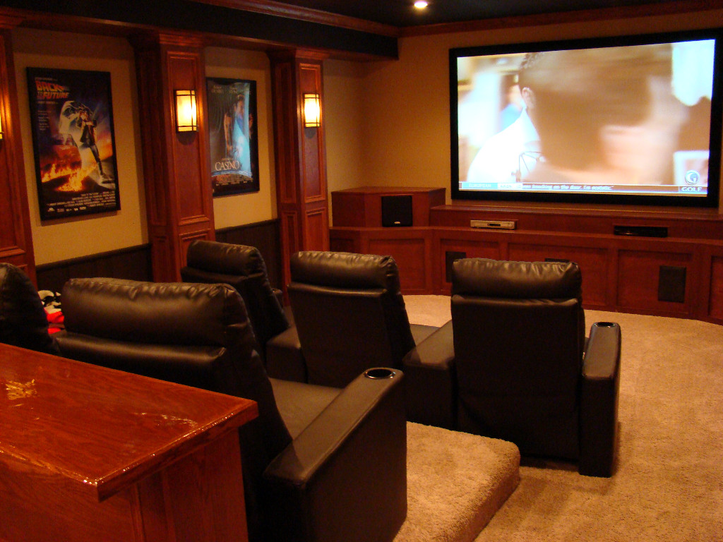 The finished basement gallery for Home theater basement design ideas