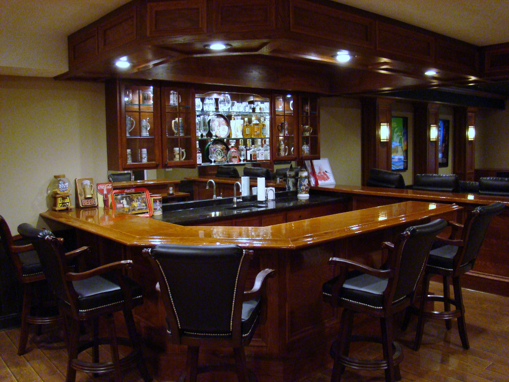 Basement Finishers Wood Bar In Finished Basement