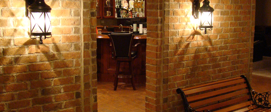basement remodeling stone brick and tile